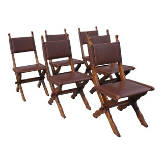 French Antique Rustic Oak & Faux Leather Dining Chairs - Set of 6 For Sale