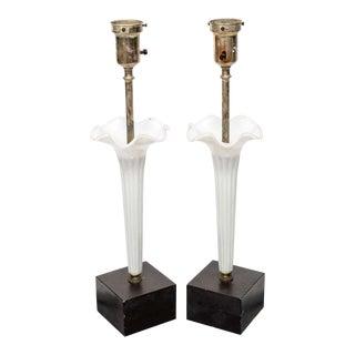 Murano Floriform Lamps 1960s - a Pair For Sale