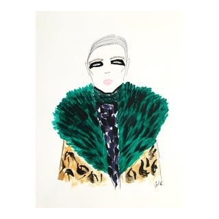 "2010s Original Watercolor Illustration, ""Green Fur, Black Eyes"" by Carly Kuhn For Sale"