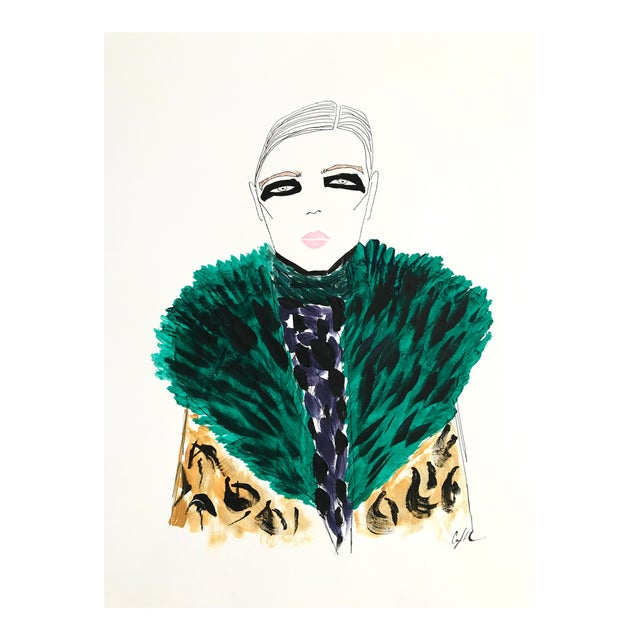"""2010s Original Watercolor Illustration, """"Green Fur, Black Eyes"""" by Carly Kuhn For Sale"""