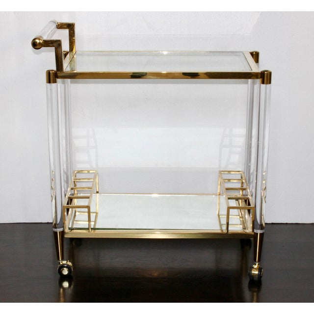 Vintage Hollywood Regency Lucite Bar Cart For Sale In Columbus - Image 6 of 6