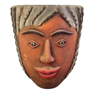 Vintage 1960s Mexican Terracotta Woman Planter For Sale