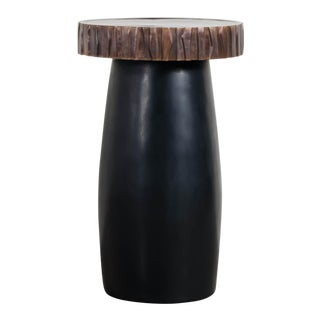 Hand Repousse Black Lacquer Side Table W/ Kuai Trim by Robert Kuo, Limited Edition For Sale