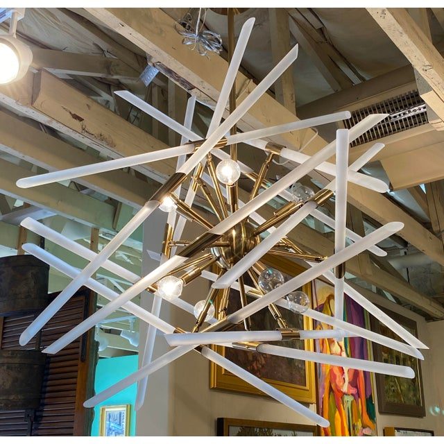 Contemporary Contemporary Frosted Glass Rods and Brass Sputnik Center Chandelier For Sale - Image 3 of 6