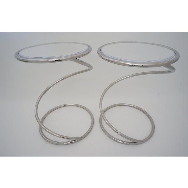 """Metal Vintage Leon Rosen for Pace """"Spring"""" Coil Tables, Side or Drink, Nickel Plated With Lucite Tops - a Pair For Sale - Image 7 of 12"""