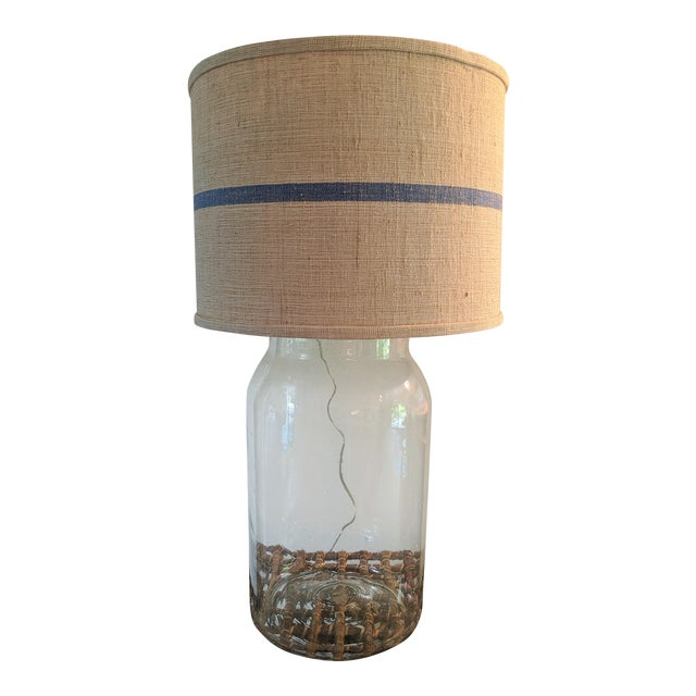 Seeded Blown Glass Lamp With Blue Striped Linen Shade For Sale