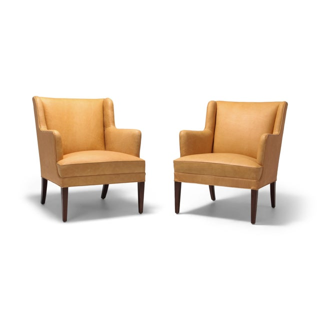 Scandinavian Modern Bergere Chairs in Camel Leather For Sale - Image 11 of 11