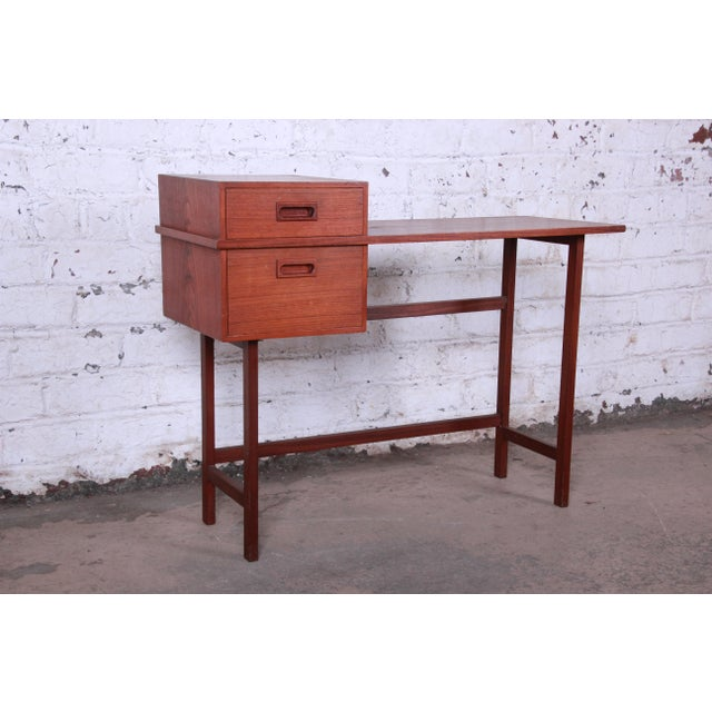 Danish Modern Swedish Modern Petite Teak Vanity Desk or Console Hall Table by Glas & Trä For Sale - Image 3 of 11