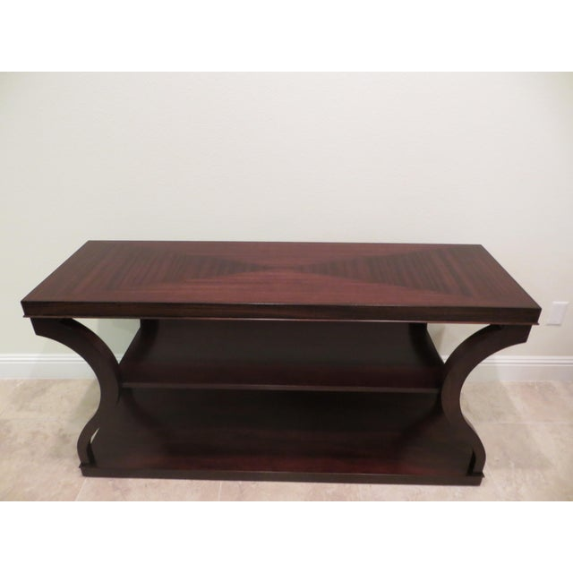 Ethan Allen Ethan Allen Mahogany & Zebra Wood Donatella Console Table For Sale - Image 4 of 6