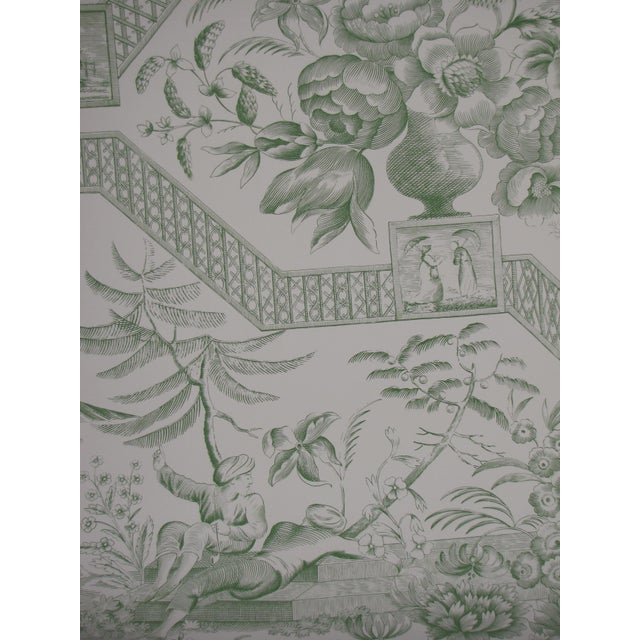 Asian Schumacher Wallpaper Colonial Williamsburg Collection Asian Toile in Jade Green Double Roll For Sale - Image 3 of 5