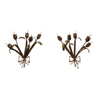 Italian Gilt Metal Sconces - a Pair Newly Electrified For Sale