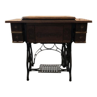 Vintage Standard Sewing Machine With Oak Cabinet