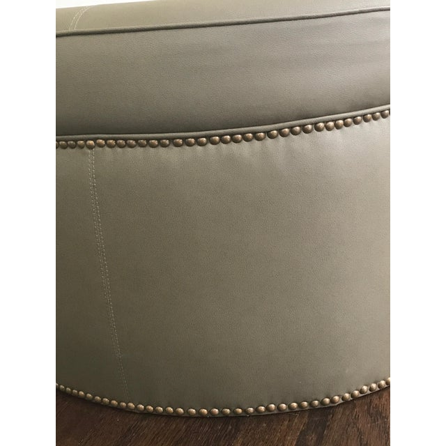 Custom Upholstered Green Leather Ottoman - Image 3 of 5