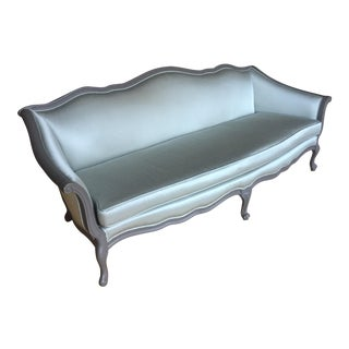 Vintage French Style Teal Satin Sofa