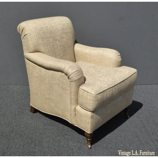 Contemporary Restoration Hardware Style Beige Linen Blend Accent Chair & Ottoman For Sale - Image 3 of 11