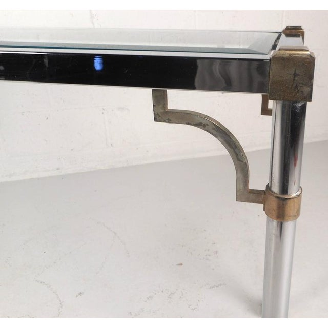 1960s Maison Jansen Style Mid-Century Modern Chrome & Brass Console Table For Sale - Image 5 of 8