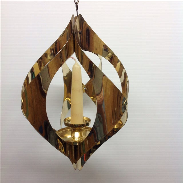 Hollywood Regency Brass Candle Pendant Light - Image 6 of 6