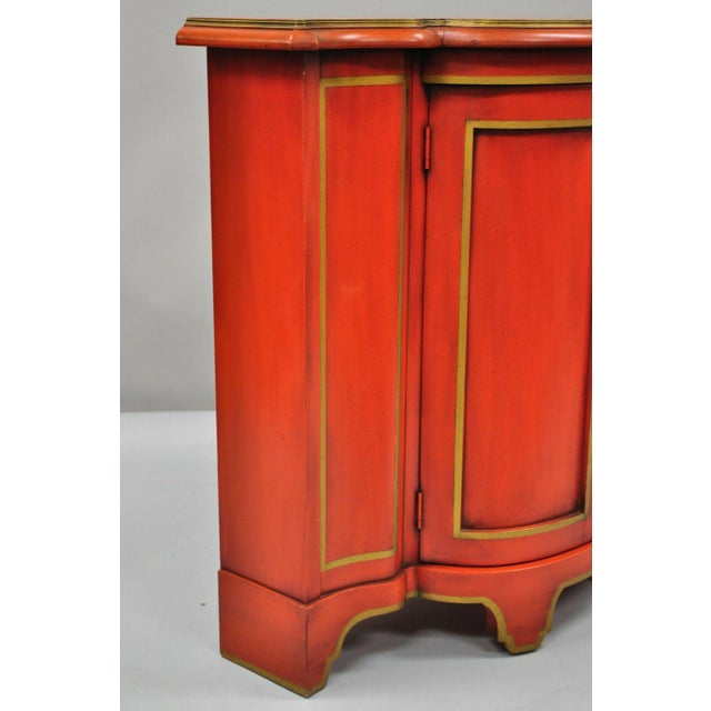 Red Lacquer Medallion Ltd Demilune Chinoiserie Georgian Credenza For Sale - Image 10 of 13