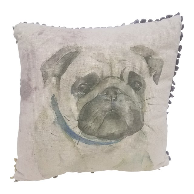 Pug Pillow - Made in Wales, United Kingdom For Sale