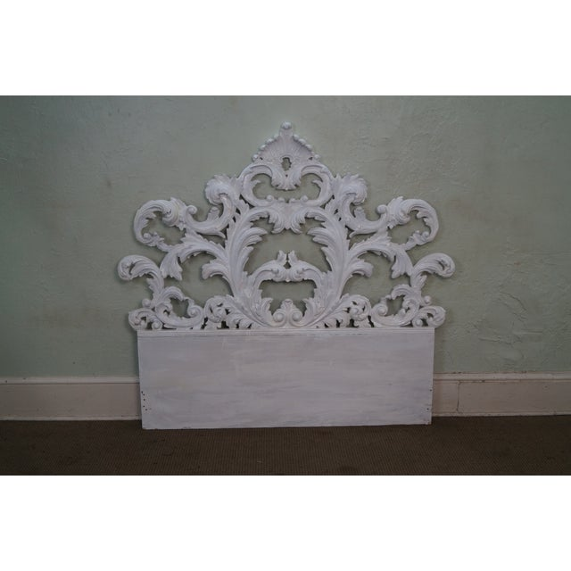 Vintage Rococo Painted Carved Wood Queen Headboard - Image 2 of 10