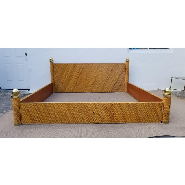 1970s Vintage Marcello Mioni Pencil Reed Rattan & Brass King Bed Frame For Sale - Image 12 of 12