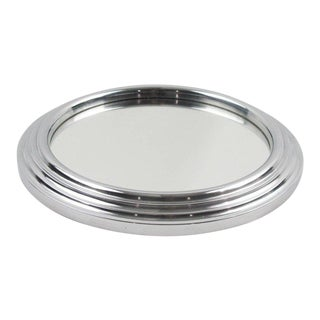 Art Deco Machine Age 1940s Chrome & Mirror Cocktail Serving Tray For Sale