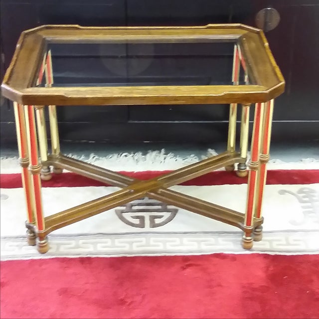 This cool modern or Hollywood regency style table is by Knob Hill, a division of Ethan Allen Furniture. It shows hardly...