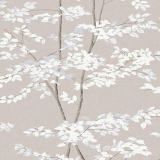 "Lewis & Wood Beech Linen Extra Wide 52"" Botanic Wallpaper Sample For Sale"