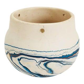 Vintage Nemadji Pottery Hanging Planter - Blue Swirls For Sale