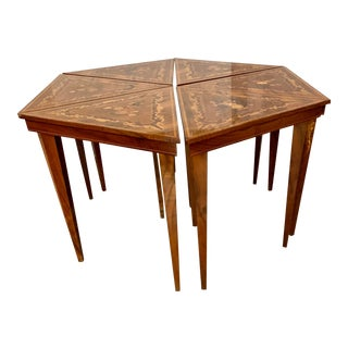 Italian Marquetry 6 Piece Hexagonal Table For Sale