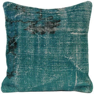 Green Vintage Handmade Overdyed Pillow Cover For Sale