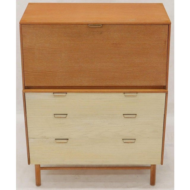 Mid 20th Century Cerused Oak Drop Front Secretary on Dowel Legs by Mengel For Sale - Image 5 of 11