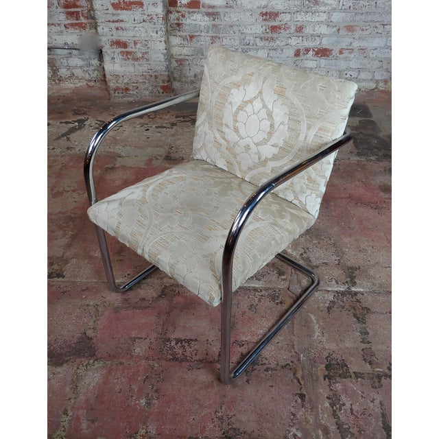 Mies Van Der Rohe Vintage Chrome Arm Chairs - Set of 4 For Sale In Los Angeles - Image 6 of 9