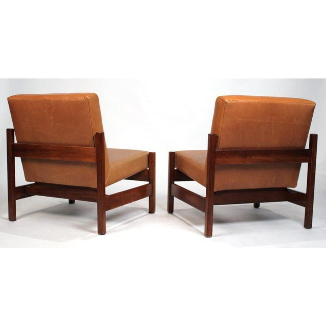 Forma Brazil Joaquim Tenreiro Style Peroba Lounge Chairs in Leather for Knoll & Forma Brazil - A Pair For Sale - Image 4 of 10