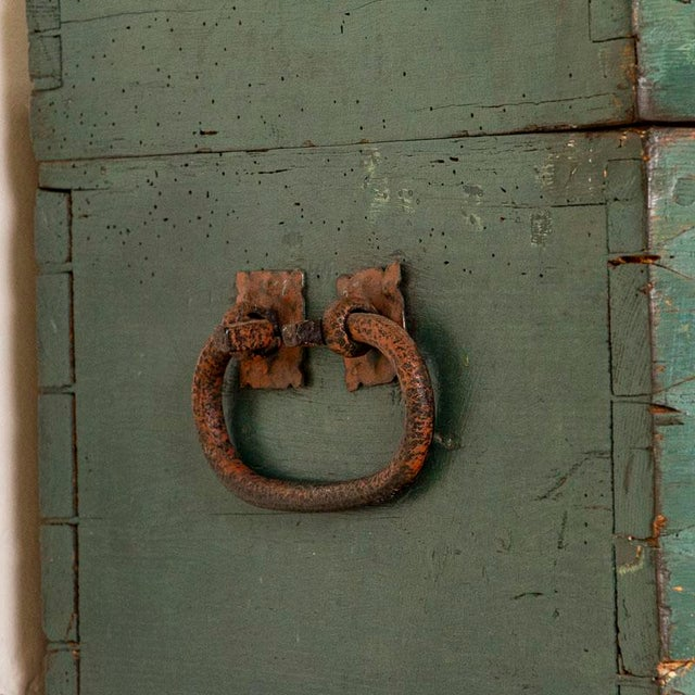 Antique Original Blue Painted Small Trunk Dated 1788 From Sweden For Sale - Image 9 of 13