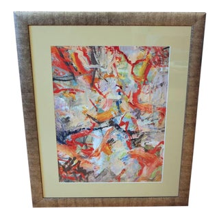 1960s Abstract Oil on Paper For Sale