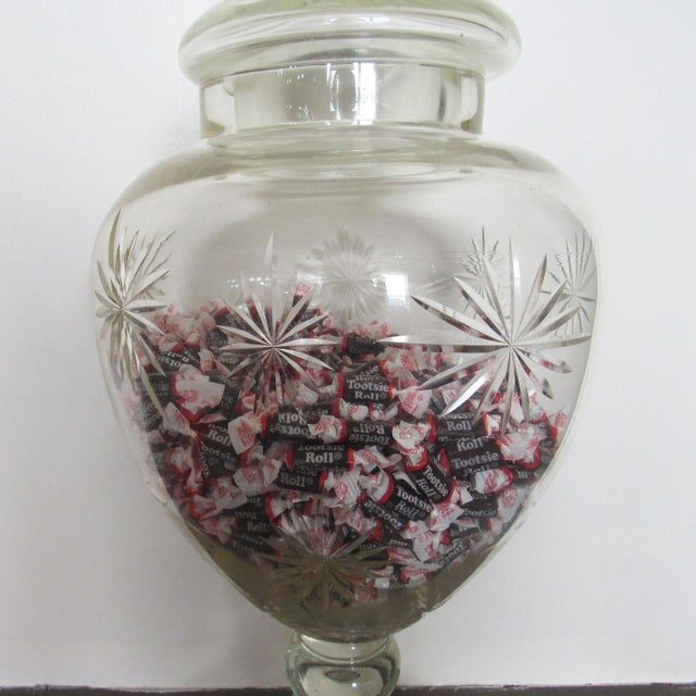 """Transparent Pair 30"""" Tall Cut Crystal Glass Lidded Apothecary Jars For Sale - Image 8 of 11"""