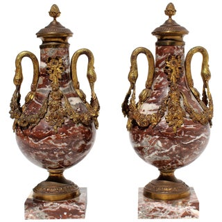 French 19th Century Bronze Doré and Marble Cassolettes For Sale