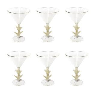 Hand-Blown Italian Artisan Martini Glasses - Set of 6