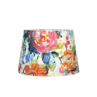 Custom Peony Floral Fabric Drum Lamp Shade For Sale