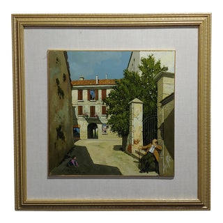 """1960s Vintage Lucio Sollazzi """"Grandpa's Afternoon in an Italian Village"""" Oil Painting For Sale"""