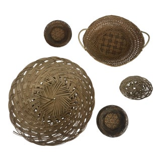 Wicker Wall Hanging Baskets - Set of 5 For Sale