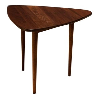 Mid Century Modern Jens Risom Solid Walnut Triangle Table For Sale
