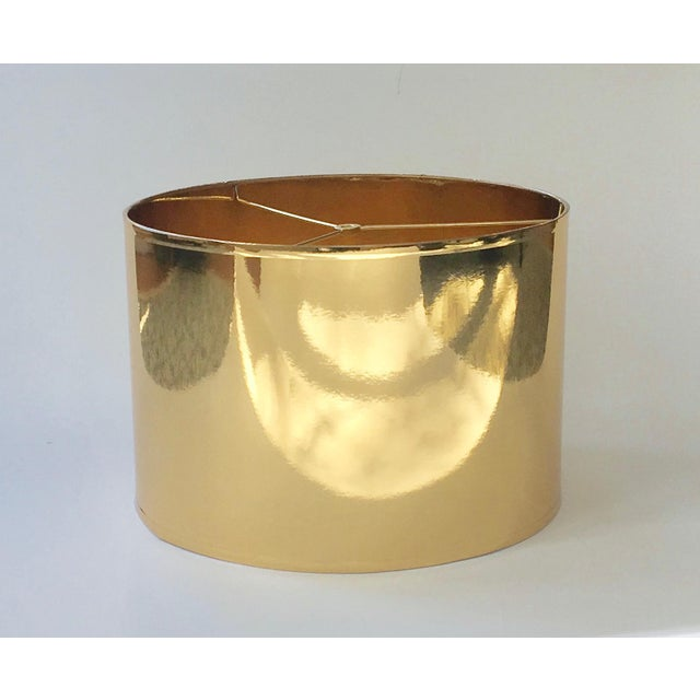Lampshade Designs Large Gold High Gloss Drum Lamp Shade For Sale - Image 4 of 6