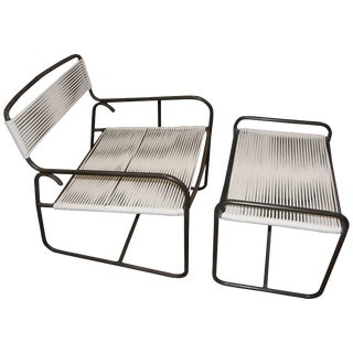 Large Lounge Chair and Ottoman Designed by Walter Lamb for Brown Jordan For Sale