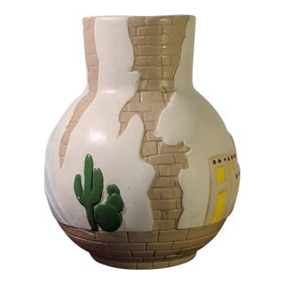 1900s Southwestern Pueblo Cactus and Exposed Brick Ceramic Pottery 3D Vase For Sale