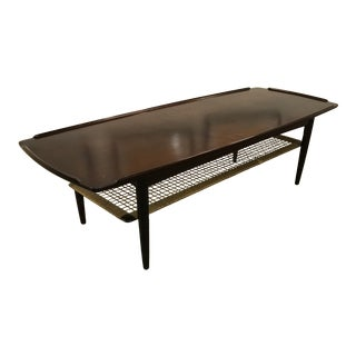 Danish Mid-Century Coffee Table With Cane Shelf