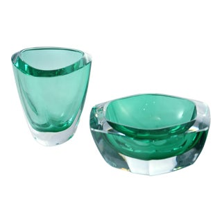 Aqua-Green Art Glass Catchalls - a Pair For Sale