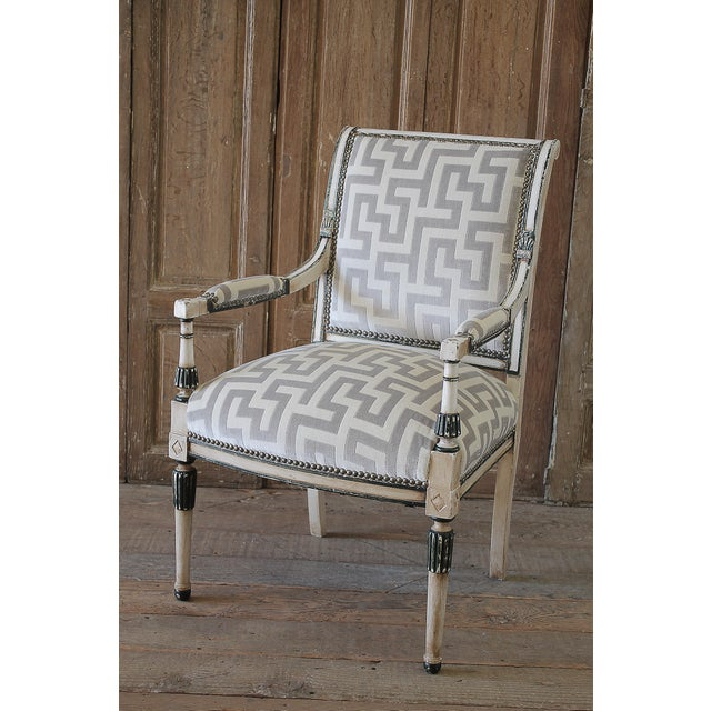 Gray 19th Century Neoclassical Style Chair With Velvet Upholstery For Sale - Image 8 of 8