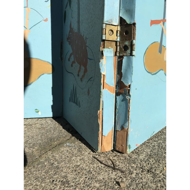 1960s 1960s Tall Hand Painted Indochine Wood Screen For Sale - Image 5 of 11